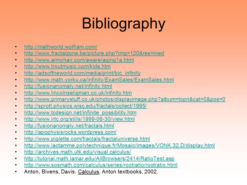 Bibliography http://mathworld.wolfram.com/