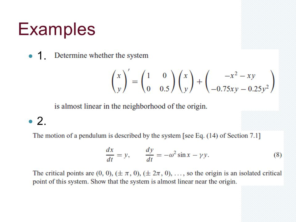 Examples 1. 2.