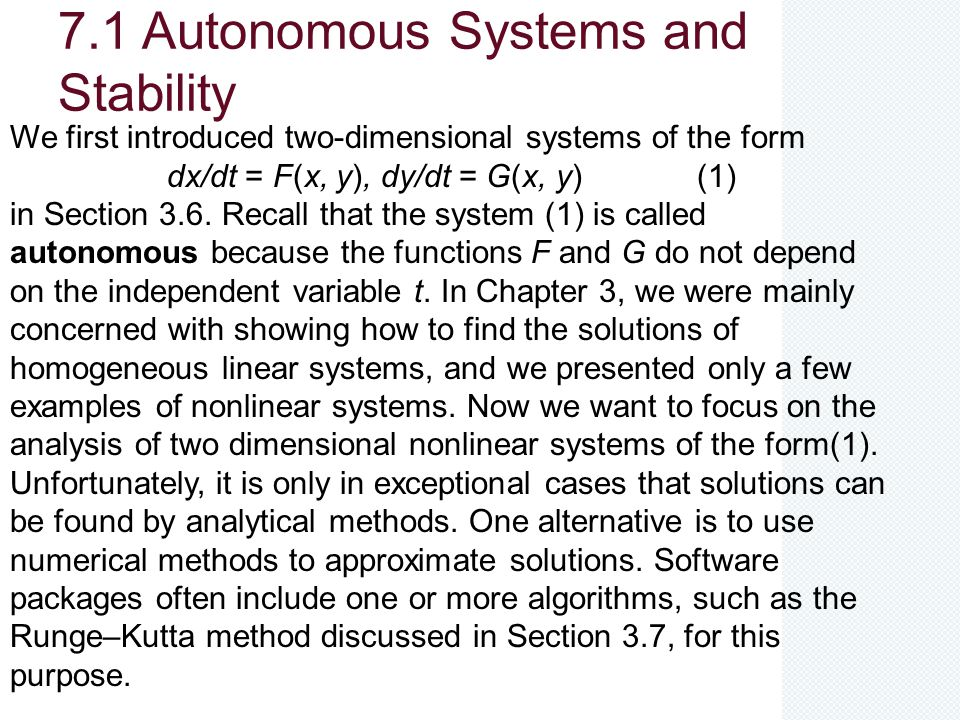 7.1 Autonomous Systems and Stability