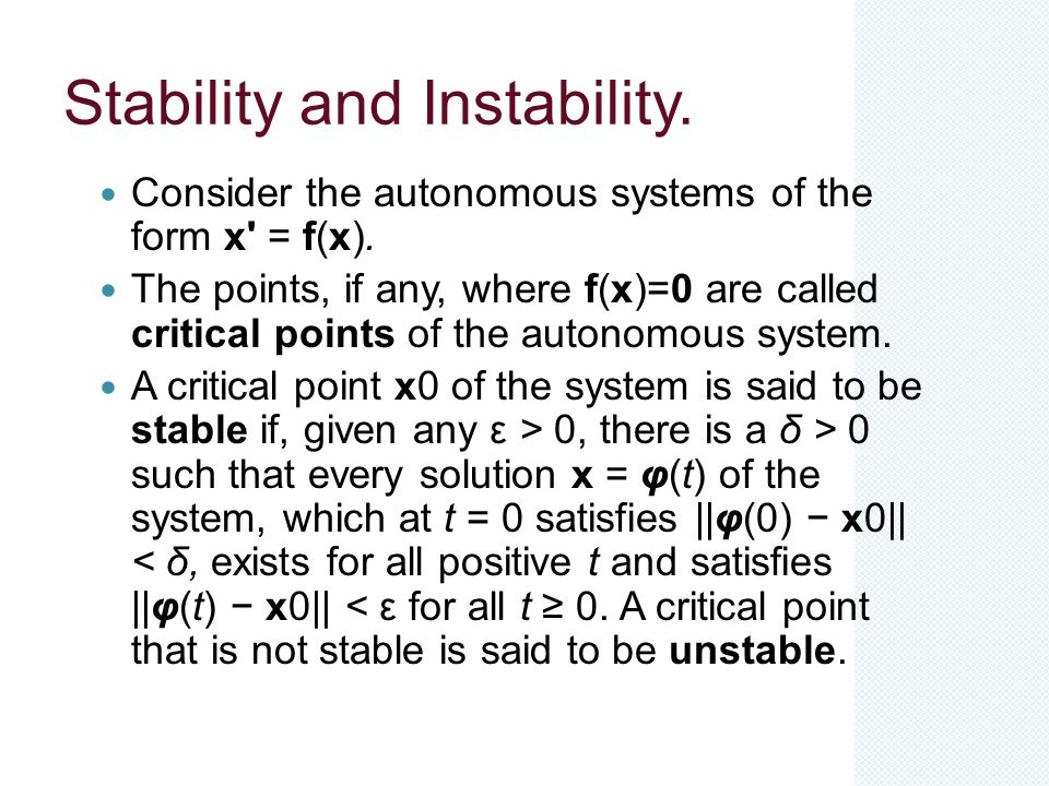 Stability and Instability.