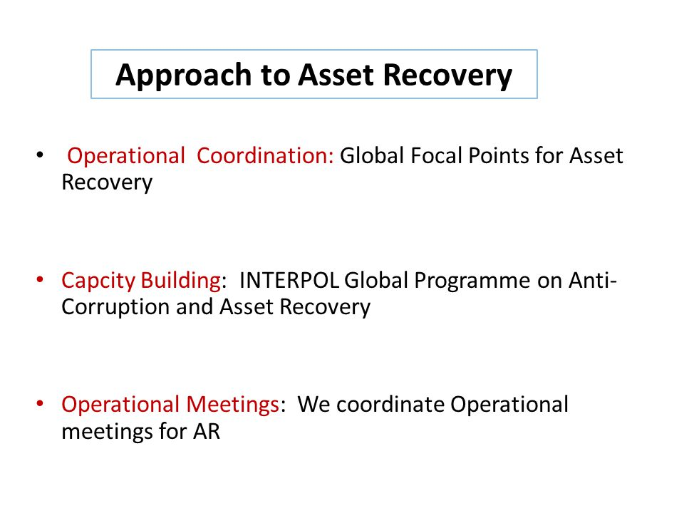 Approach to Asset Recovery