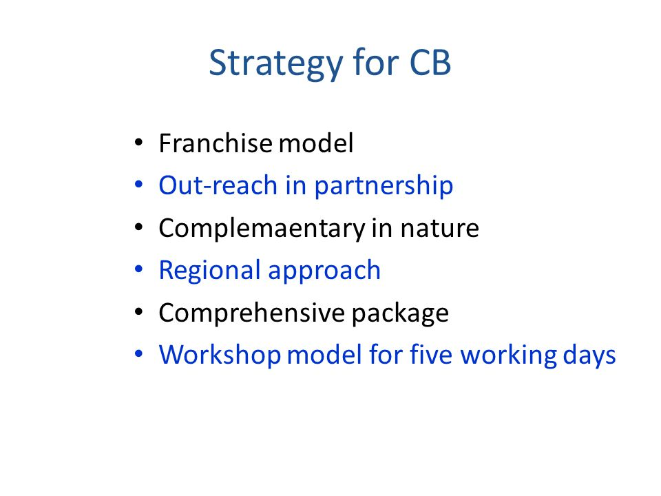 Strategy for CB Franchise model Out-reach in partnership