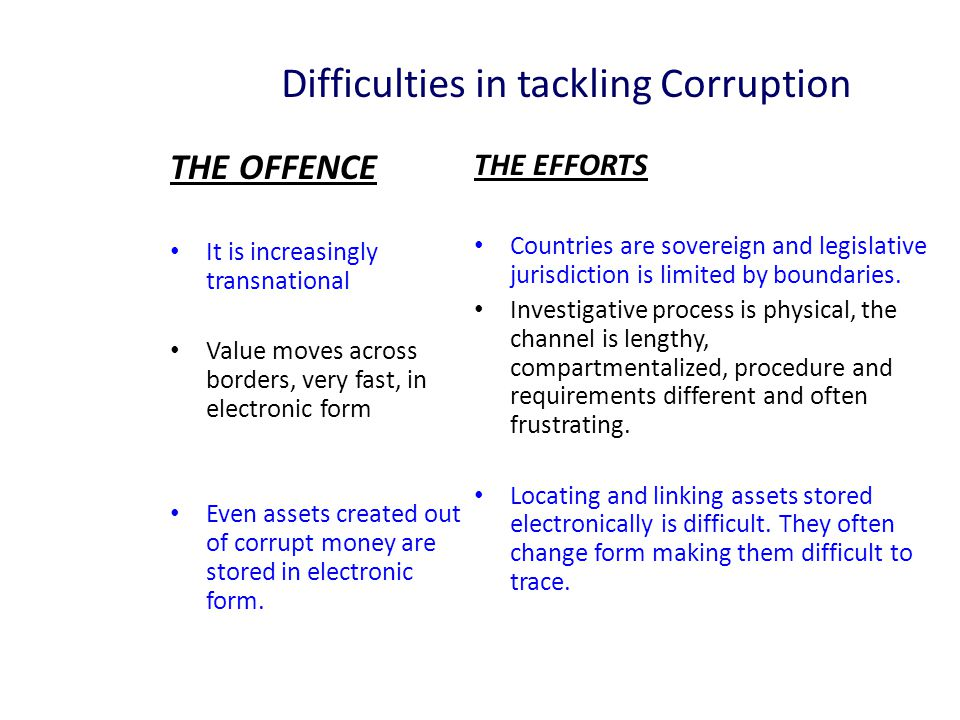 Difficulties in tackling Corruption