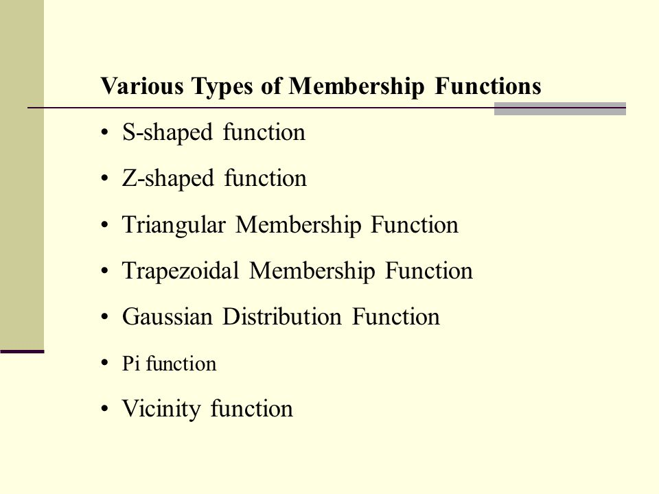 Various Types of Membership Functions
