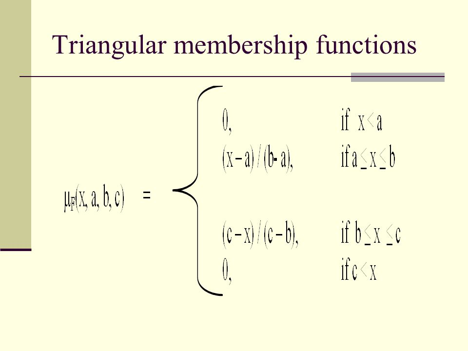 Triangular membership functions