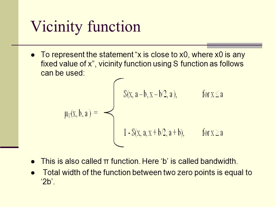 Vicinity function
