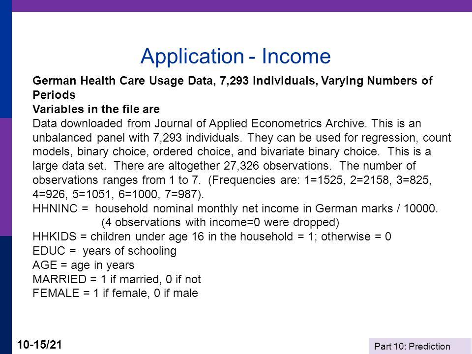 Application - Income