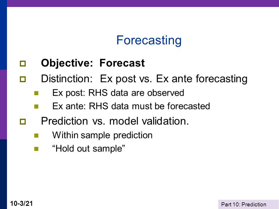 Forecasting Objective: Forecast