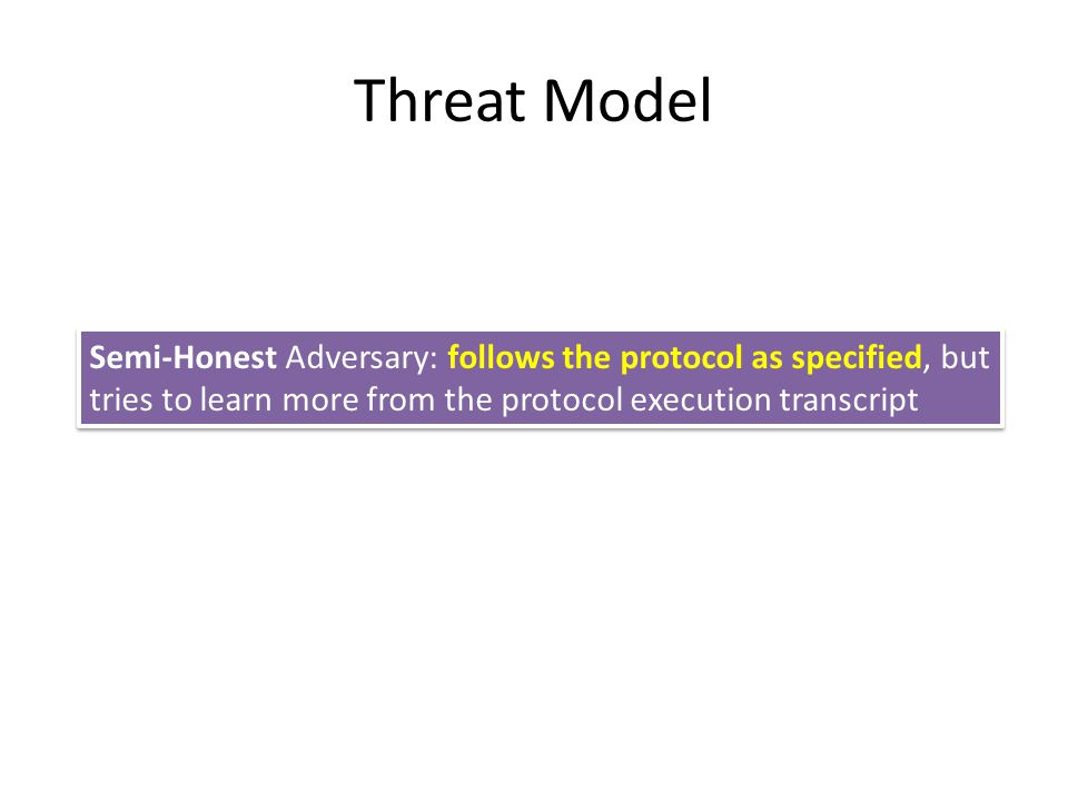 Threat Model Semi-Honest Adversary: follows the protocol as specified, but tries to learn more from the protocol execution transcript.