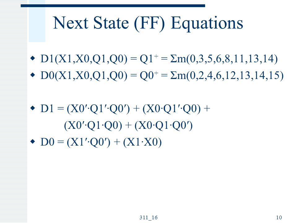 Next State (FF) Equations