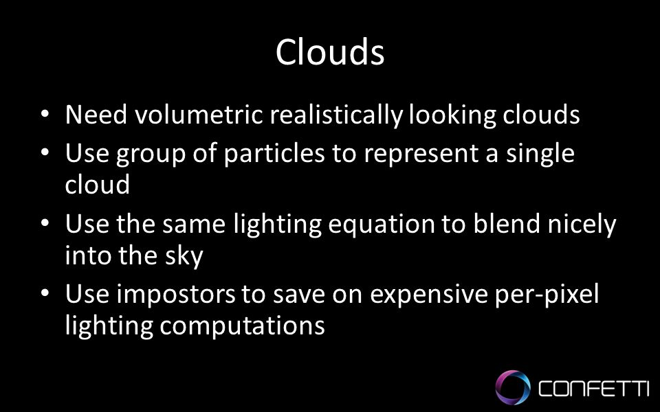 Clouds Need volumetric realistically looking clouds