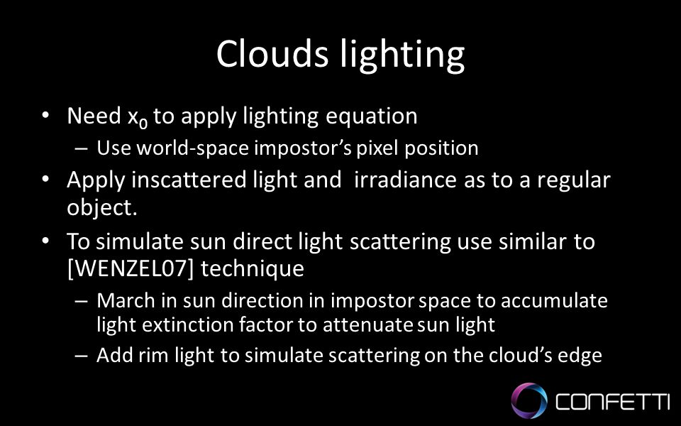 Clouds lighting Need x0 to apply lighting equation