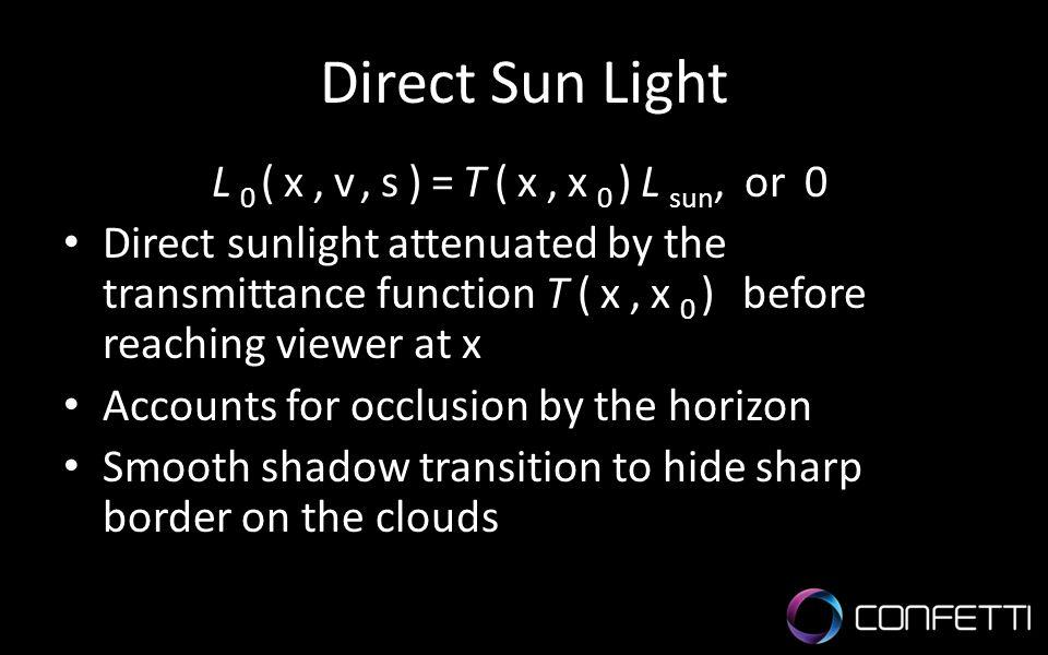 Direct Sun Light L0(x,v,s)=T(x,x0)Lsun, or 0