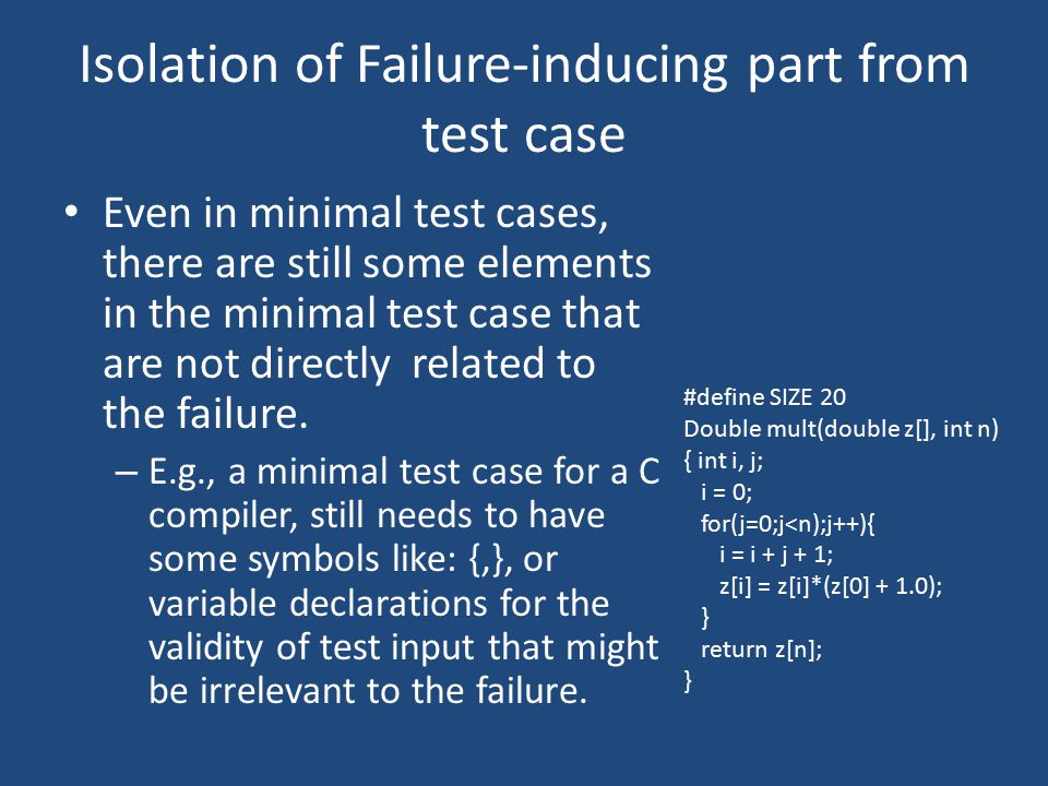 Isolation of Failure-inducing part from test case