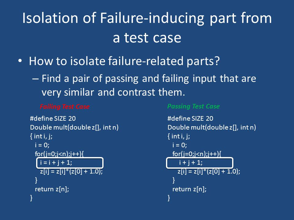 Isolation of Failure-inducing part from a test case