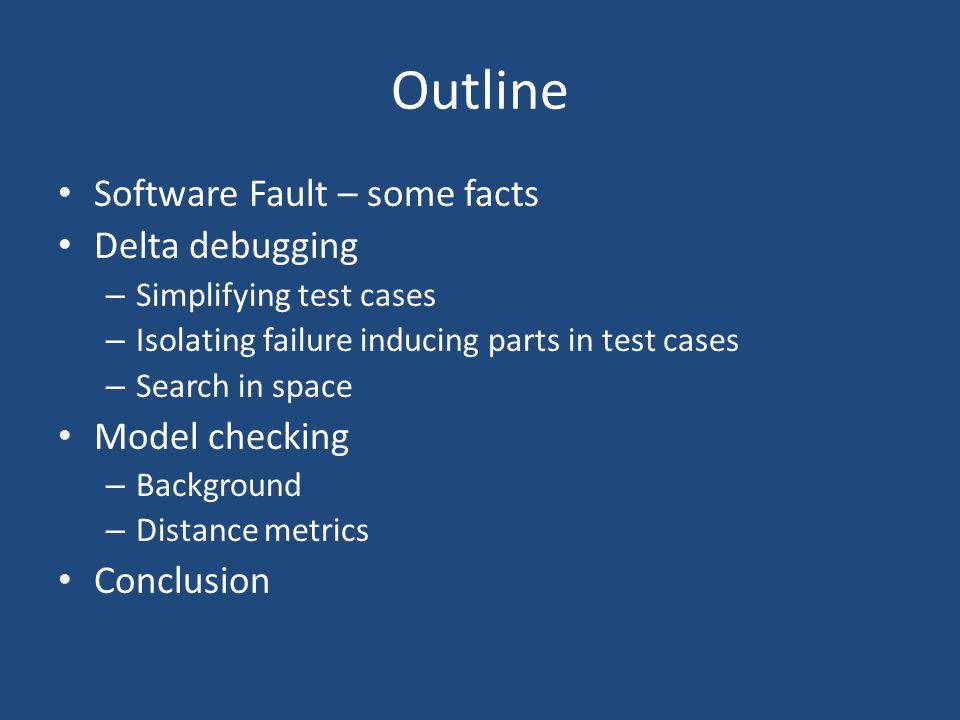 Outline Software Fault – some facts Delta debugging Model checking