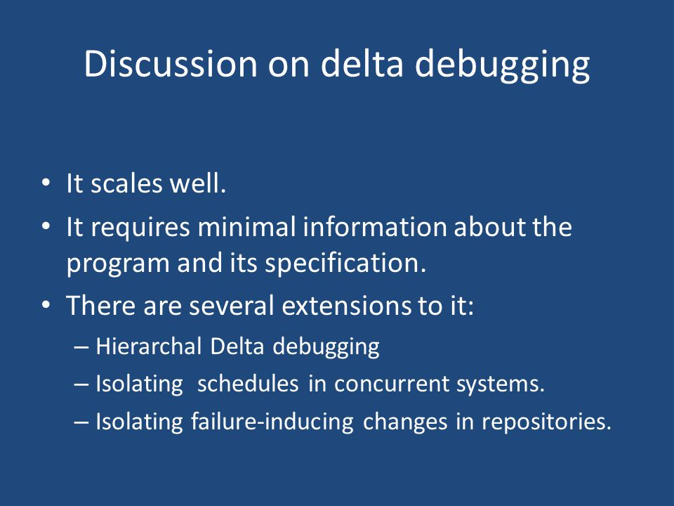 Discussion on delta debugging