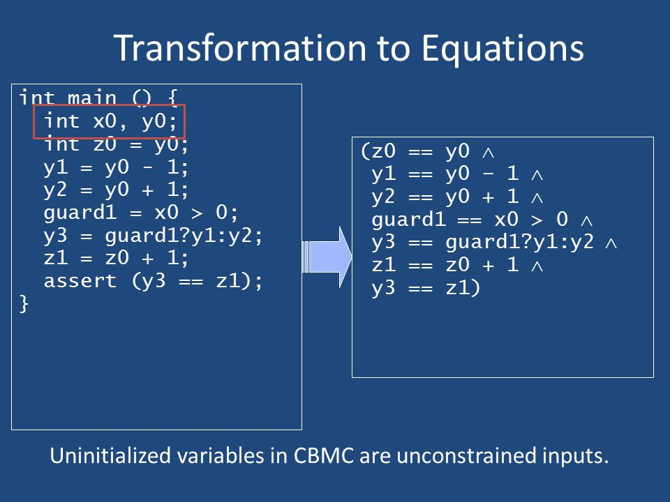 Transformation to Equations