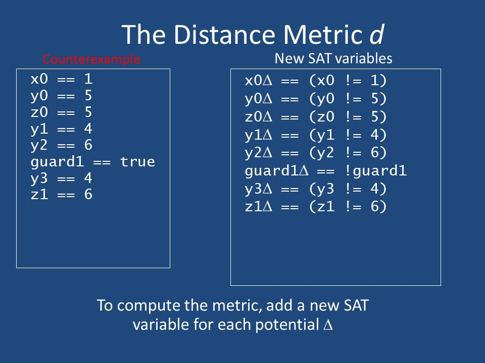 To compute the metric, add a new SAT variable for each potential 