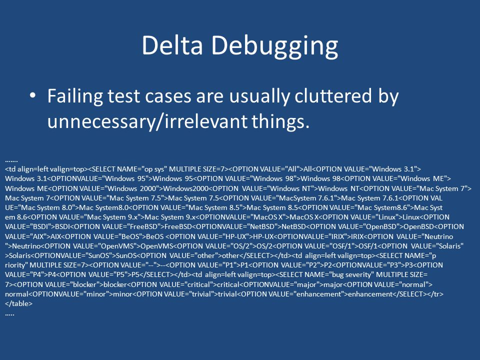 Delta Debugging Failing test cases are usually cluttered by unnecessary/irrelevant things. …….