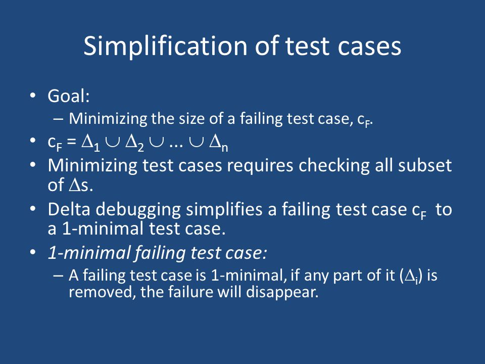 Simplification of test cases