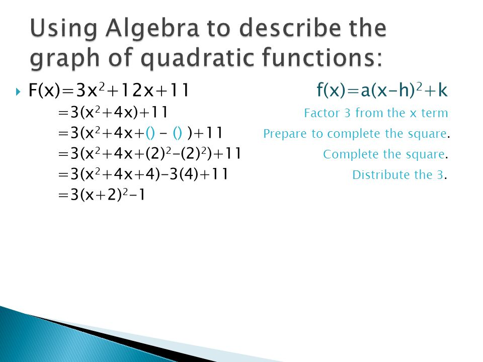 Using Algebra to describe the graph of quadratic functions: