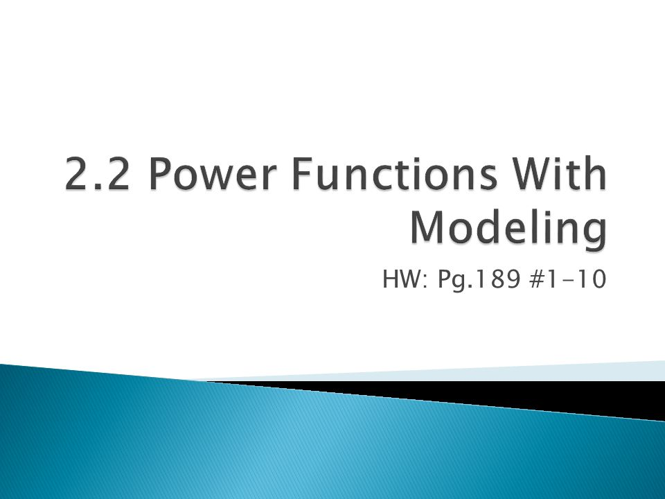 2.2 Power Functions With Modeling