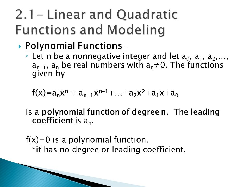 2.1- Linear and Quadratic Functions and Modeling