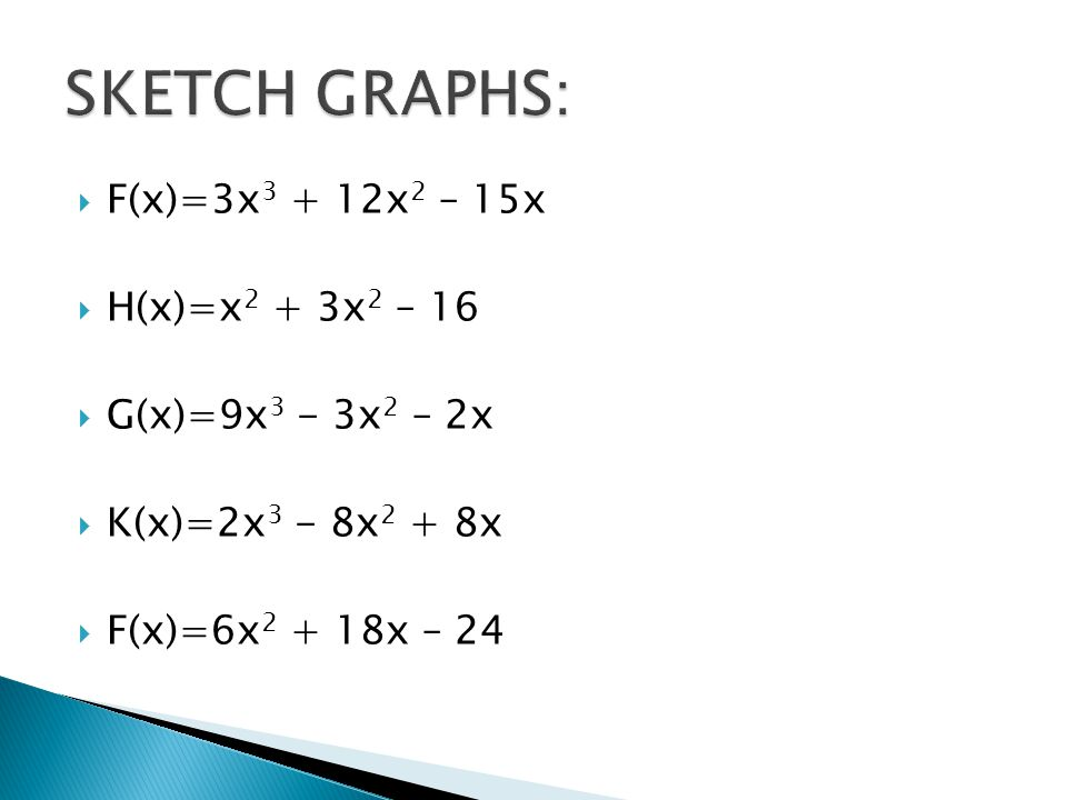 SKETCH GRAPHS: F(x)=3x3 + 12x2 – 15x H(x)=x2 + 3x2 – 16