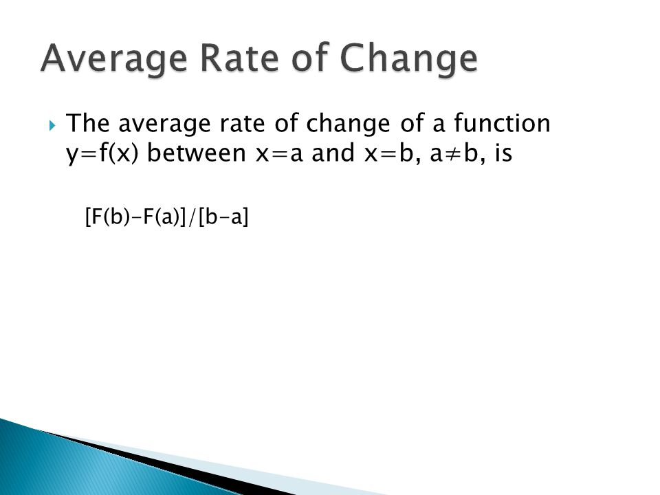 Average Rate of Change The average rate of change of a function y=f(x) between x=a and x=b, a≠b, is.