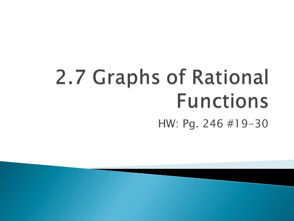 2.7 Graphs of Rational Functions