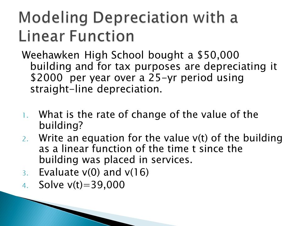 Modeling Depreciation with a Linear Function