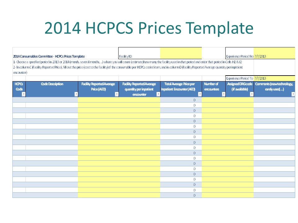 2014 HCPCS Prices Template