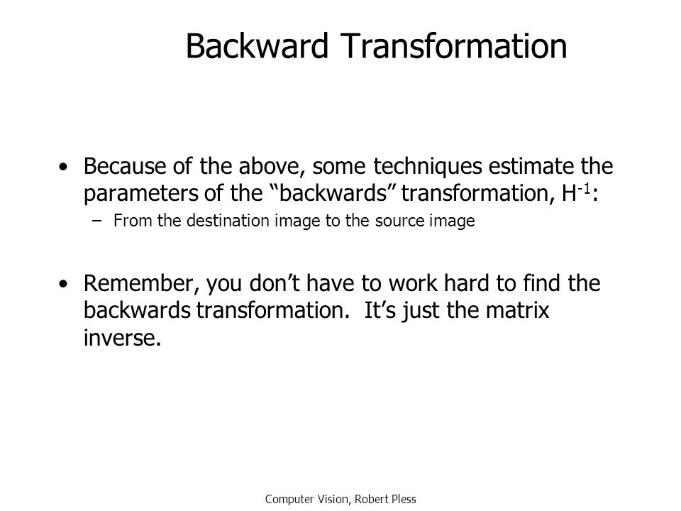 Backward Transformation