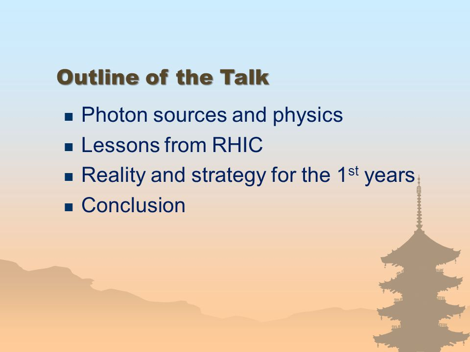 Outline of the Talk Photon sources and physics. Lessons from RHIC. Reality and strategy for the 1st years.
