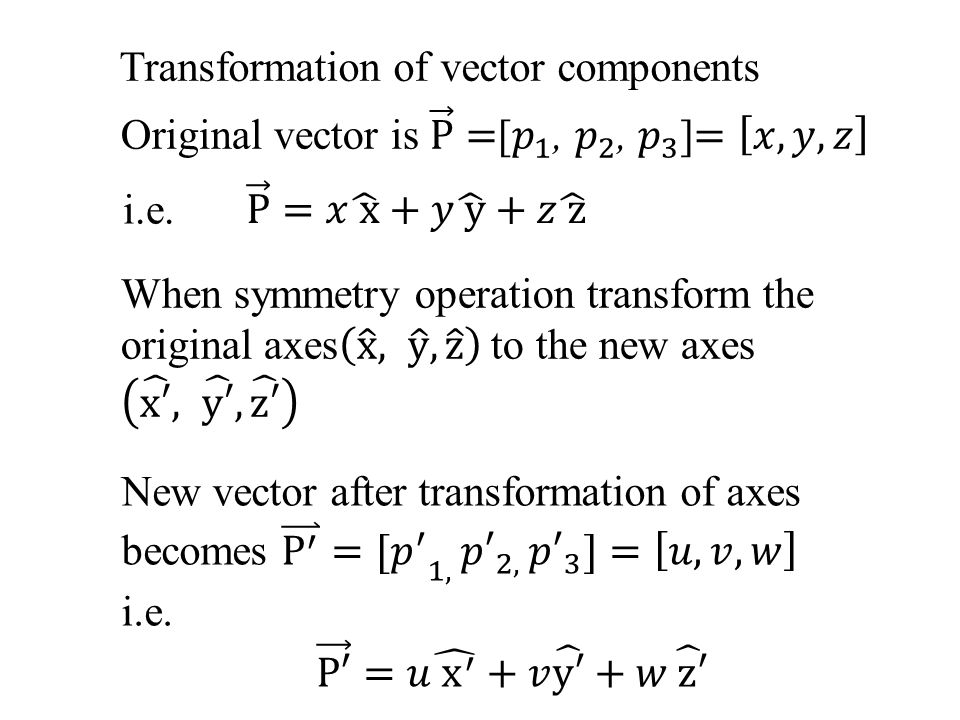 Transformation of vector components