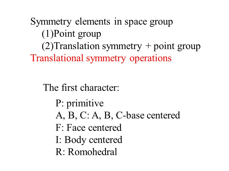 Symmetry elements in space group