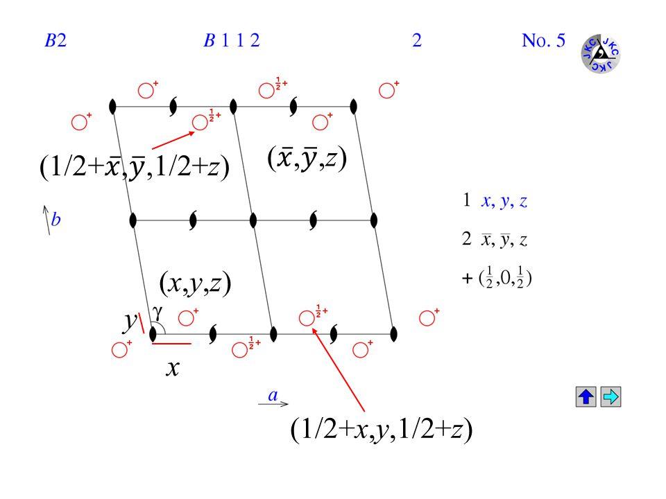 ( 𝑥 , 𝑦 ,z) (1/2+ 𝑥 , 𝑦 ,1/2+z) (x,y,z) y x (1/2+x,y,1/2+z)