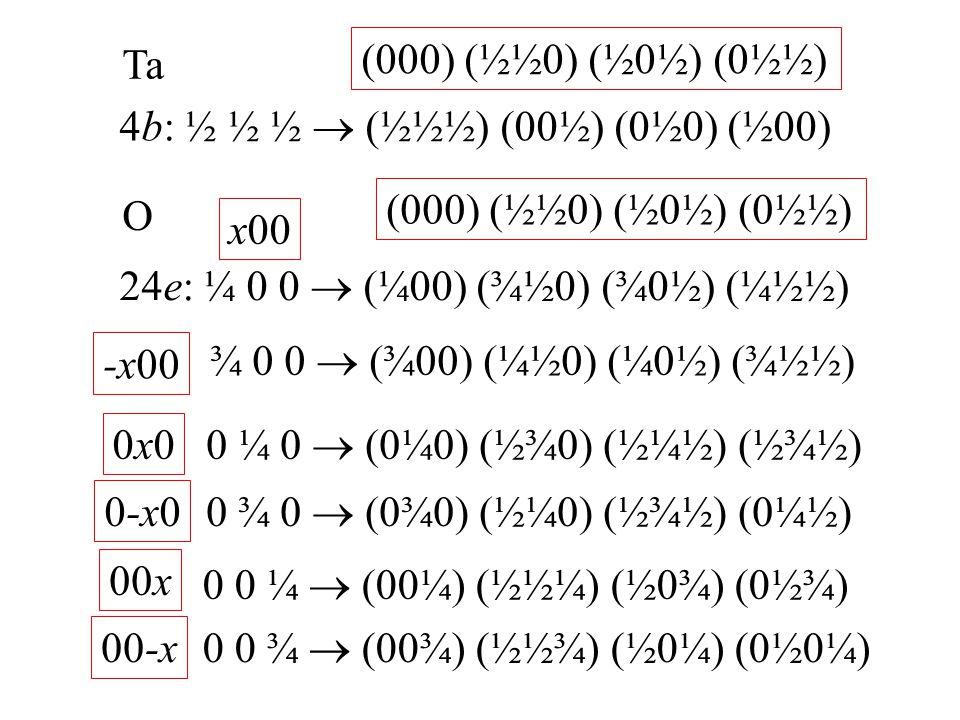 Ta (000) (½½0) (½0½) (0½½) 4b: ½ ½ ½  (½½½) (00½) (0½0) (½00) (000) (½½0) (½0½) (0½½) O. x00. 24e: ¼ 0 0  (¼00) (¾½0) (¾0½) (¼½½)