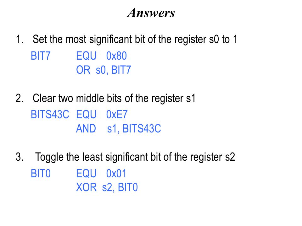 Answers Set the most significant bit of the register s0 to 1