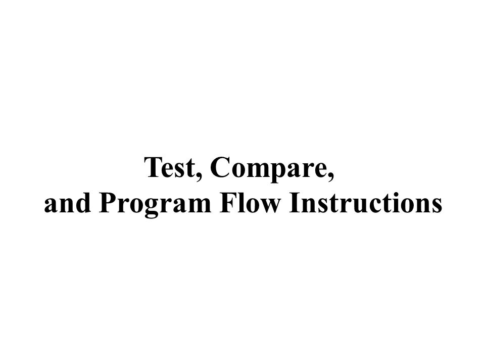 and Program Flow Instructions