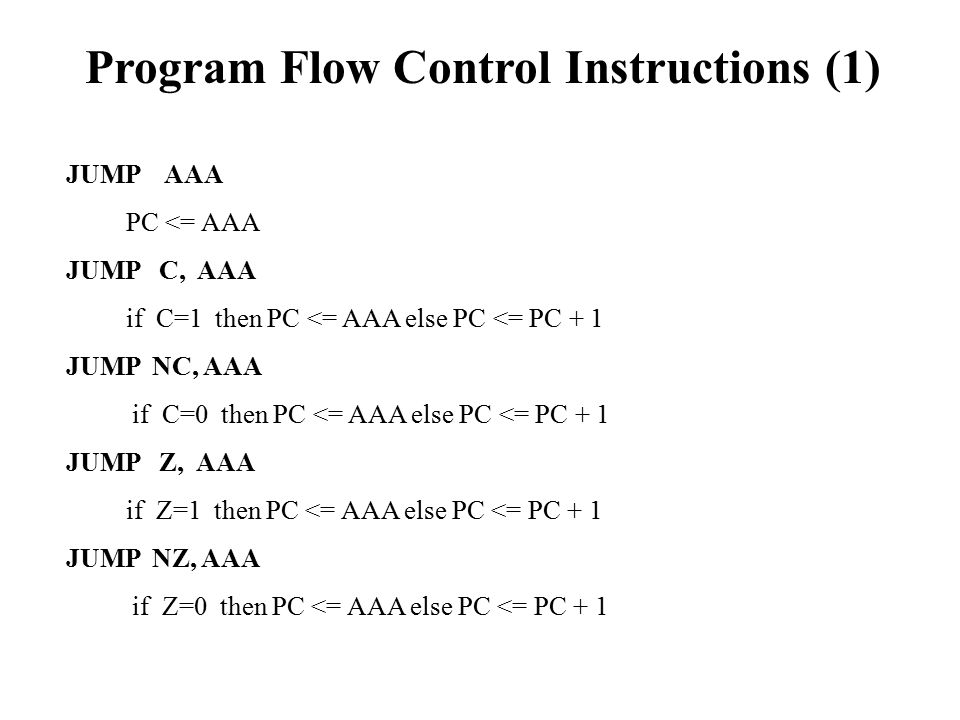 Program Flow Control Instructions (1)