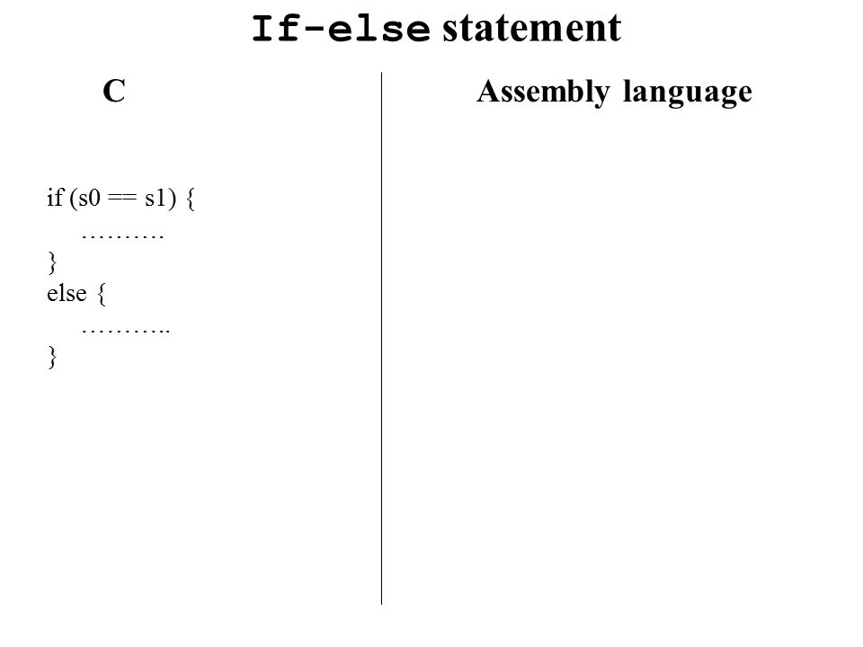If-else statement C Assembly language if (s0 == s1) { ………. } else {