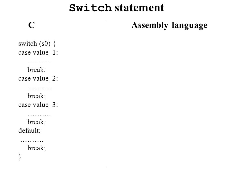Switch statement C Assembly language switch (s0) { case value_1: ……….