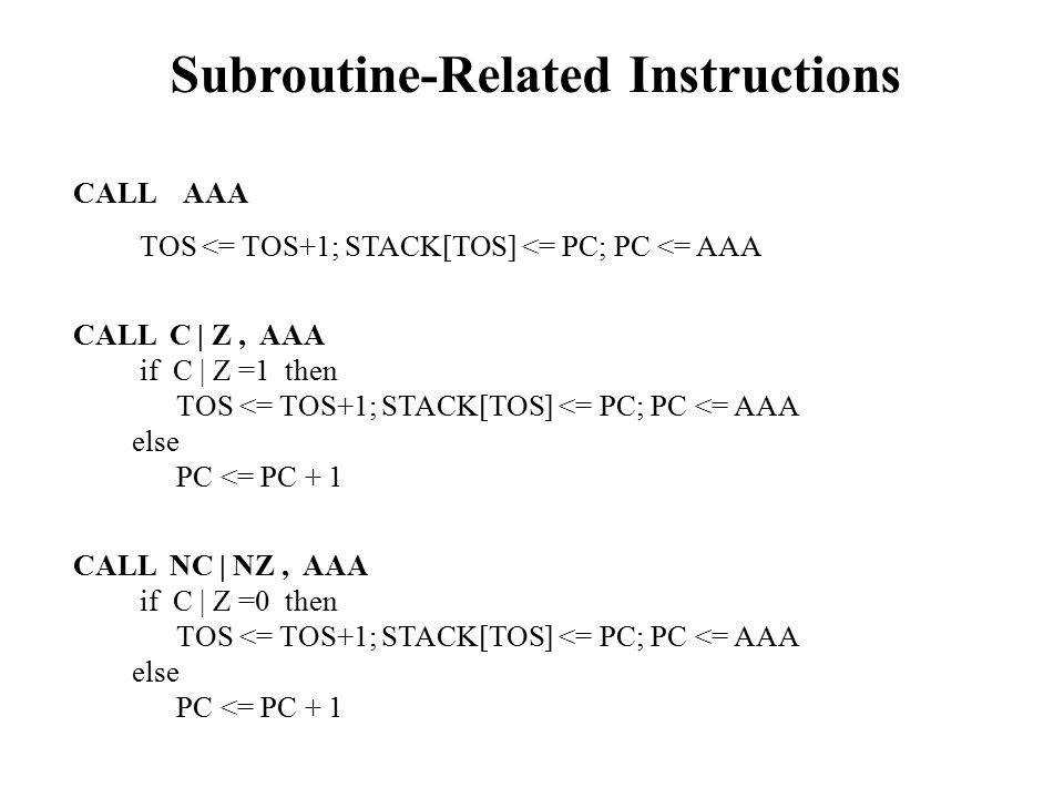 Subroutine-Related Instructions