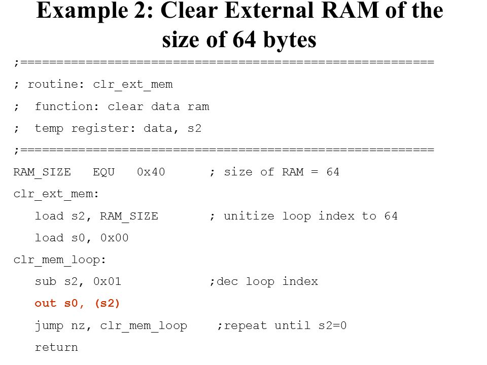 Example 2: Clear External RAM of the size of 64 bytes