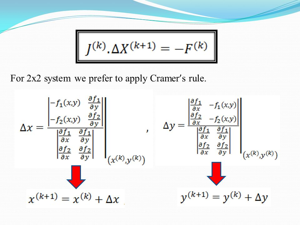For 2x2 system we prefer to apply Cramer's rule.