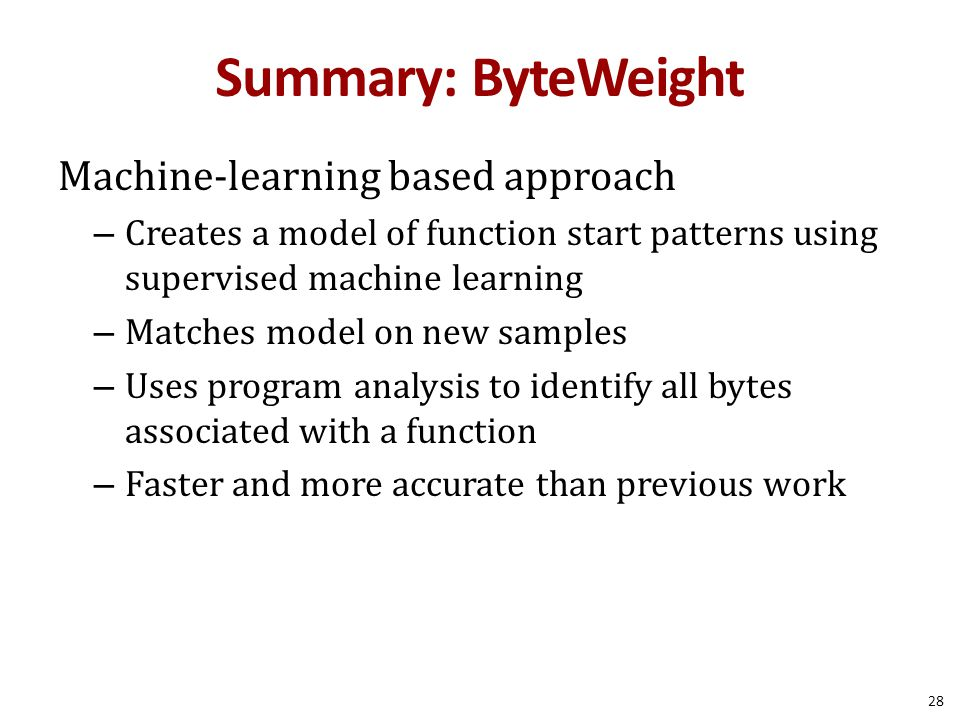Summary: ByteWeight Machine-learning based approach
