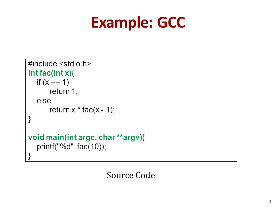 Example: GCC Source Code #include <stdio.h> int fac(int x){