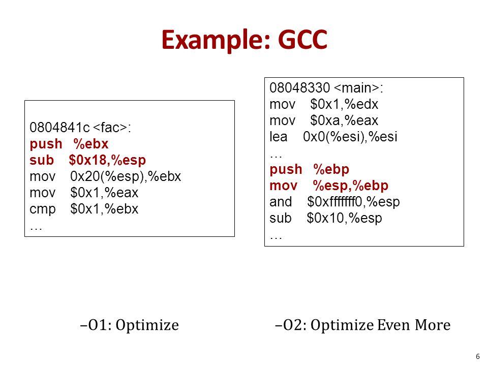 Example: GCC 08048330 <main>: mov $0x1,%edx. mov $0xa,%eax. lea 0x0(%esi),%esi. … push %ebp.